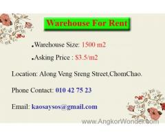 WAREHOUSE FOR RENT SIZE 1500m2